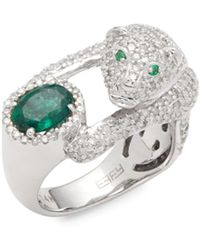 Effy - Diamond, Emerald & 14k White Gold Solitaire Ring - Lyst