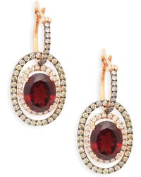 Le Vian - 14k Strawberry Gold, Vanilla Diamond, Chocolate Diamond & Pomegranate Garnet Earrings - Lyst
