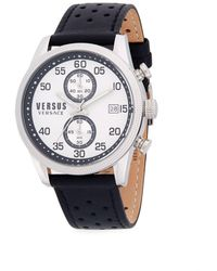 Versus - Classic Stainless Steel And Leather-strap Watch - Lyst