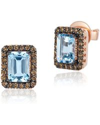 Le Vian - Chocolatier® Aquamarine, Diamond & 14k Rose Gold Earrings - Lyst