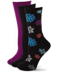 Hue - Three-pack Snowflake Rolltop Socks - Lyst