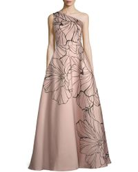 99efb110537eb Carmen Marc Valvo Infusion Brocade Floral Printed Jacquard Gown in Blue -  Lyst