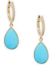Effy - 14k Gold Turquoise & Diamond Dangle Drop Earrings - Lyst