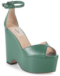 Valentino - Ankle-strap Leather Wedge Sandals - Lyst