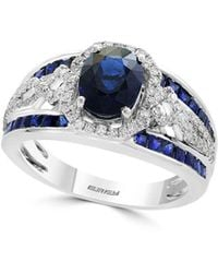Effy - Royale Bleu Diamond, Natural Sapphire And 14k White Gold Ring - Lyst