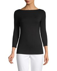 Saks Fifth Avenue Black - Iconic Fit Three-quarter Sleeve Boatneck Tee - Lyst