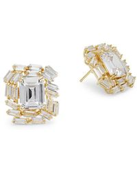 Saks Fifth Avenue - Crystal And Sterling Silver Square Stud Earrings - Lyst