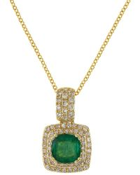 Effy - 14k Yellow Gold Emerald And Diamond Pendant Necklace - Lyst