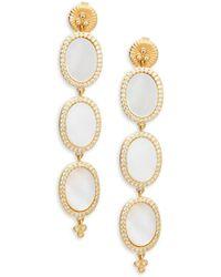 Freida Rothman - Triple Oval Mother-of-pearl, Crystal & Sterling Silver Drop Earrings - Lyst