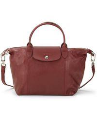 Longchamp Le Pliage Cuir Metis Leather Shoulder Bag in Red - Lyst de0e55b3d5010