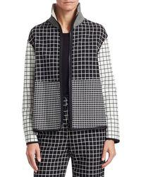 Akris Punto Mixed Grid Zip-front Jacket - Black