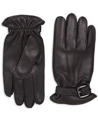 Saks Fifth Avenue - Buckled Leather Gloves - Lyst