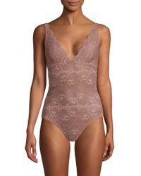 Samantha Chang - All Lace V-neck Bodysuit - Lyst