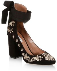 Tabitha Simmons - Isabel Embroidered Suede Ankle-wrap Court Shoes - Lyst