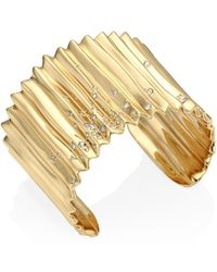 Alexis Bittar - Elements Crystal-studded & 10k Yellow Gold Pleated Cuff - Lyst