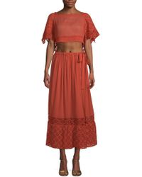 Free People - Darling Two-piece Cotton Cropped Top & Midi Skirt Set - Lyst