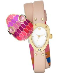 Kate Spade - Double Wrap Leather Snake Watch - Lyst