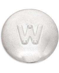 Valentino - Silvertone Initial Circle Pin - Lyst