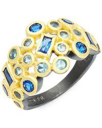 Freida Rothman - Modern Mosaic Sterling Silver & Crystal Cluster Ring - Lyst
