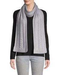 Badgley Mischka - Pearl Embellished Fishtail Knit Scarf - Lyst