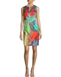 MILLY - Notch Print Sheath Dress - Lyst