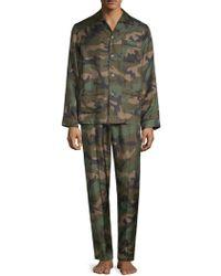 Valentino - Two-piece Silk Camouflage Pajama Set - Lyst