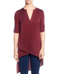Catherine Malandrino - Split Neck High-low Blouse - Lyst