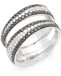 Roberto Coin - 18k White Gold & Diamond Double Band Ring - Lyst