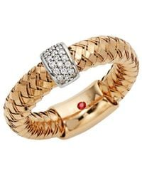 Roberto Coin - 18k White & Rose Gold Diamond Rope Ring - Lyst