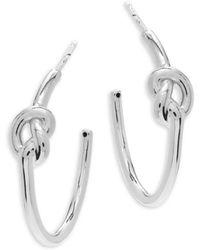Saks Fifth Avenue - Sterling Silver Knot Hoop Earrings- 1in - Lyst
