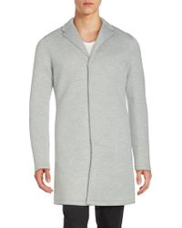 Members Only - Long Cotton-blend Snap Coat - Lyst