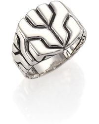 John Hardy - Classic Chain Sterling Silver Square Ring - Lyst