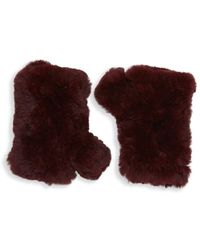 Saks Fifth Avenue Black - Fingerless Rabbit Fur Texting Gloves - Lyst