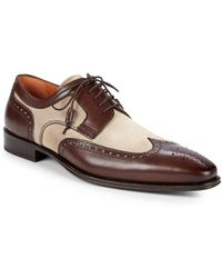 Mezlan - Suede & Leather Wingtip Loafers - Lyst