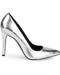 Calvin Klein - Brady Metallic Leather Pumps - Lyst