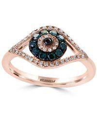Effy - Novelty Diamond, Black Diamond, Blue Diamond & 14k Rose Gold Ring - Lyst