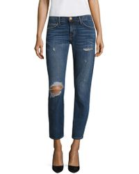 Current/Elliott - The Easy Stiletto Distressed Cropped Jeans - Lyst