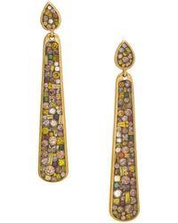 Plevé - Cinnamon 18k Yellow Gold & Multicolored Diamond Drop Earrings - Lyst