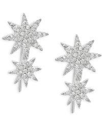 Saks Fifth Avenue - Diamond And 14k White Gold Starburst Earrings - Lyst