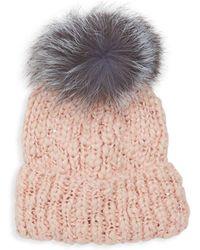Surell - Bling Fox Fur Pom Pom Beanie - Lyst