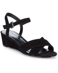 Nine West - Lucy Suede Wedge Sandals - Lyst