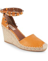 Valentino - Studded Leather Wedge Espadrilles - Lyst