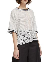 French Connection - Vosporos Lace-mesh Mix Top - Lyst