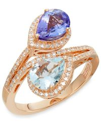 Effy - Tanzanite, Aquamarine, 0.34 Tcw Diamond & 14k Rose Gold Ring - Lyst