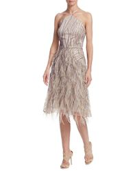 David Meister - Feather-accented Halter Dress - Lyst