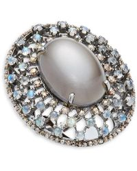 Bavna - Moonstone, Rainbow Moonstone & Sterling Silver Statement Ring - Lyst