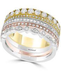 Effy - 14k Tri-tone Gold & Diamond Stacked Ring - Lyst