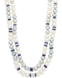 Belpearl - 7-8mm White & Grey Semi-round Freshwater Pearl, Sapphire And 14k White Gold Double Row Necklace - Lyst