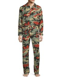 Valentino - Two-piece Silk Camouflage Pajama Set - Lyst