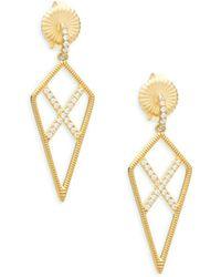 Freida Rothman - Pavé Crystal & Sterling Silver Crisscross Drop Earrings - Lyst